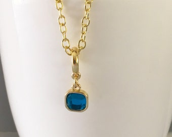 December birthstone necklace, blue zircon birthstone necklace, december necklace, blue zircon necklace, blue pendant necklace, blue necklace