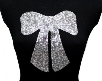 NEW Bow Tie Christmas Applique Design Hot Fix Transfer with Sequins For Sew On Glue On