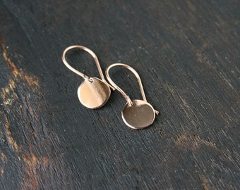 Solid Gold Disc Earrings. 14k Gold Disc Earring Small. Round Gold Earrings. Rose Gold Disc Earrings. 14k Gold Dangle Disc Earrings. Handmade