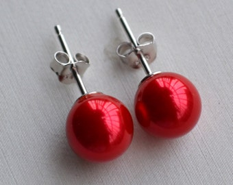 red pearl earrings,Glass Pearl earrings,6mm, 8mm or 10mm red pearl earrings,round pearl stud earrings,bridesmaid earrings,wedding Jewelry