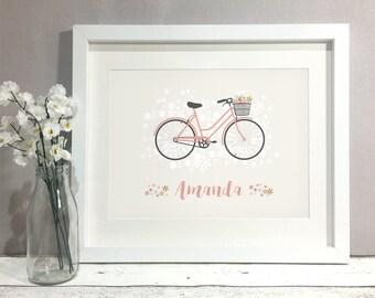Bike Personalised Print, Bike Art, Custom Bicycle Print, Bicycle Wall Art, Cycling Bike Gift, Gift for Cyclist, Bicycle Gift Idea (unframed)