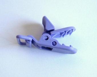Lilac purple pacifier clip in resin, purple Alligator Clip