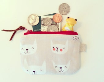 Coin Purse, Small Zipper Pouch with Cute Cat