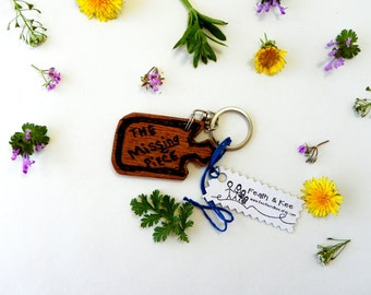 Puzzle Piece Key Chain from Reclaimed Wood
