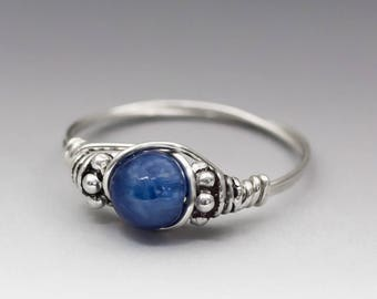 Blue Kyanite Bali Gemstone Sterling Silver Wire Wrapped Bead Ring - Made to Order, Ships Fast!