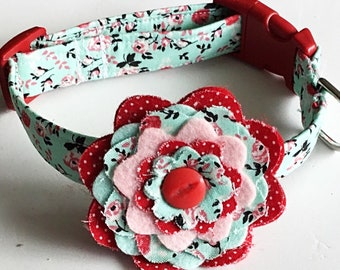 Mint Green Floral Collar with Flower for Girl Dog or Cat