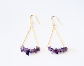 Authentic amethyst earrings purple stone dangle earrings teardrop earrings natural stone gift for her bridesmade jewelery mothers day