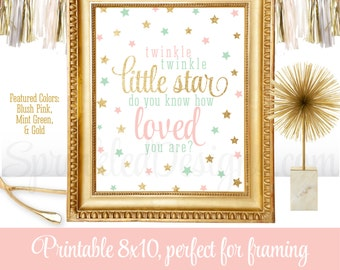 Twinkle Little Star Do You Know How Loved You Are - Girls Nursery Decorations, Printable Wall Art  Sign - Blush Pink Mint Green Gold Glitter