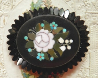 Pietra Dura Brooch with Rose and Forget-Me-Nots TREASURY ITEM