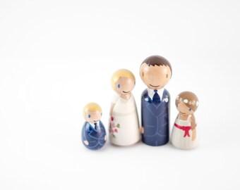 Peg Family Wedding Cake Topper - Family Cake Topper - family wedding cake topper - cake topper with children - peg family - cake topper kids