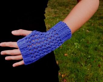 Purple Cotton Knit Texting Gloves - Knit Fingerless Mittens - Vegan Knit Gloves Women's Knitted Wrist Warmers Purple Knit Fingerless Gloves