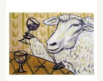 25% off Sheep at the Wine Bar Art Print