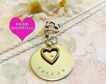 Golden Birthday Gift Hand Stamped in Colorado, Personalized Necklace, Open Heart Charm, Heart Toggle, Gift for Her, Daughter, Grand Daughter