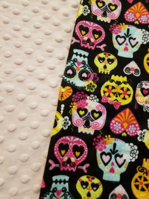 Sugar Skull, Weighted, Lap Pad/Small Blanket/Travel Weighted Blanket, 3 pounds,  14.5x22, Autism, SPD, PTSD, Small Weighted Blanket