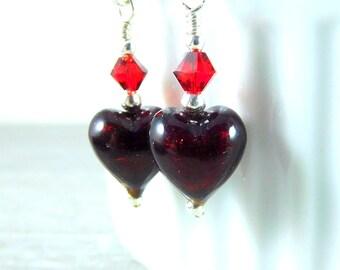 Tiny Dark Red Heart Earrings, Valentine's Day Jewelry, Valentine's Earrings, Murano Earrings, Romantic Earrings, Valentine's Gift for Her