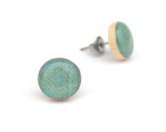 Blue Wood Stud Earrings, Hypoallergenic earrings, Gift for her