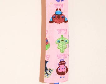 Pacifier clip designs pink fabric with Blue Ribbon and metal clip