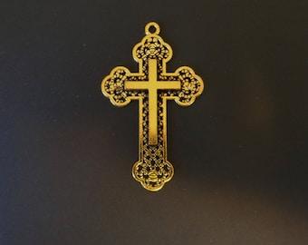 Stunning Gold Tone Cross Charm - Low Shipping