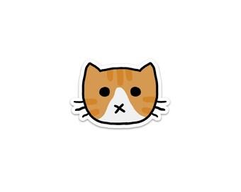 Orange and White Cat Sticker, Phone Sticker, Cat Laptop Sticker, Car Sticker, Bumper Sticker, Vinyl Sticker, Cute Cat, Tabby Cat
