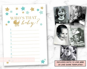 Guess Who's that baby printable, Baby photo picture shower game, twinkle little star shower, gold mint shower game, INSTANT DOWNLOAD 006