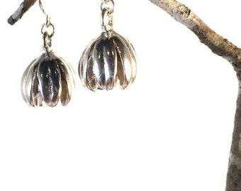 Crepe Myrtle Pod Earrings Sterling Silver