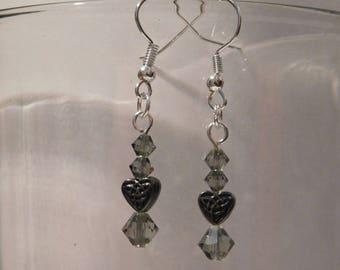Smokey Celtic Heart Earrings