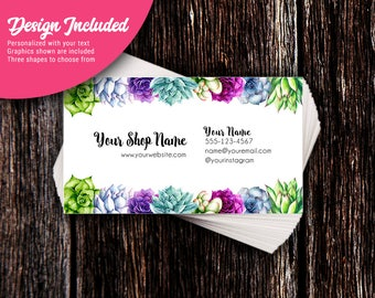 Business Cards - Custom Business Cards - Personalized Business Cards - Mommy Calling Cards - Succulent Garden