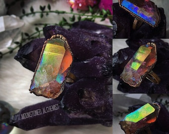 High Quality Aura Quartz Crystal Point Electroformed Copper Ring - Vibrant Rainbow Aura Crystal Ring - Neon Rainbow Crystal Copper Ring