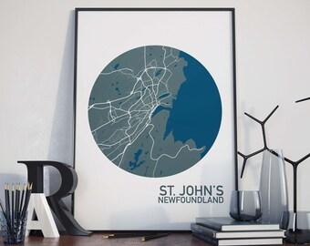St. John's, Newfoundland City Map Print