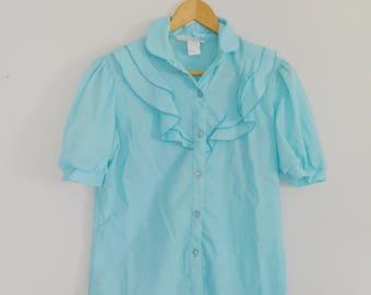 Vintage 1950's/1960's Blue Short Sleeved Blouse - Maggie Sweet