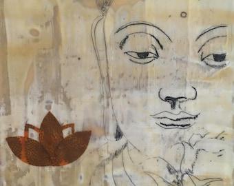 Buddha, spiritual, beeswax, painting, mixed media, encaustic, lotus