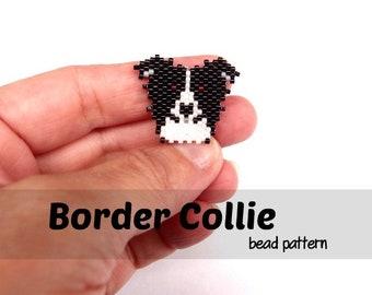 Border Collie Dog PATTERN (Large), Brick Stitch Seed Beads