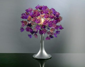 Purple Table lamp, modern table light, bedside table lamp with flowers, small table lighter, beautiful as a wedding present.