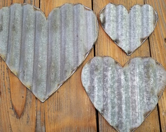Set of 6+ Vintage Barn Tin Hearts/small/med/large/Valentine's Day/Wedding/Craft Supplies