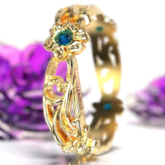 Art Nouveau Floral Design Wedding Ring Gold with Blue Sapphire Design in 10K 14K 18K or Palladium, Made in Your Size Cr-5018