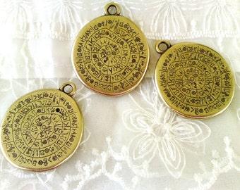 Brass Antique Bronze Large Disc Pendant, Ancient Minoan Cretan Phaistos Disc, Greek Design, Double Sided Festos Pendant, 33x35mm - 1 piece