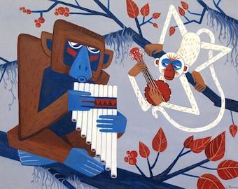 Pan Flute and Banjolele Duet, original acrylic painting