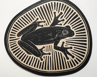 Hand Carved Tree Frog Woodcut Wall Art