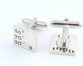 Secret Message Cufflinks - Coordinates Cufflinks - Gift For Dad - Custom Men's Cuff Links - Sterling Silver Cufflinks - Shirt Fastener - GPS