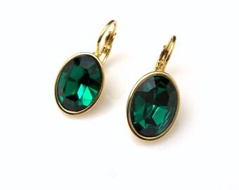 bridal earrings bridesmaid gift wedding jewelry Swarovski emerald green crystal oval rhinestone foiled drop with gold leverback earrings