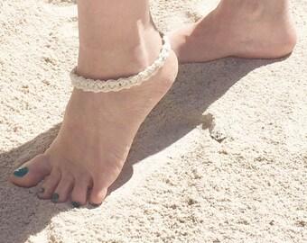 White Ankle Bracelet