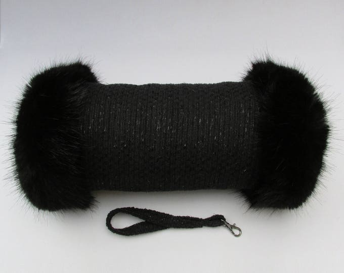 Linton Tweed Black Sparkle Hand Muff with Black Faux Fur Trim