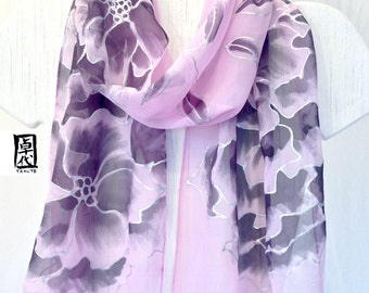 Hand Painted Silk Scarf, Pink and Black Peony Scarf, Floral Scarf, Purple Silk Scarf, Silk Scarves Takuyo, Silk Chiffon Scarf, Made to order