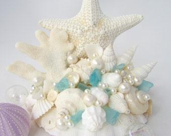 Beach Wedding Cake Topper, Nautical Cake Topper, Starfish Cake Topper, Shell Cake Topper, Beach Cake Topper, Sea Glass Cake Topper - #CTJC