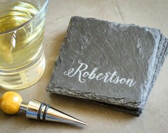 Personalized Slate Coasters, Custom Engraved Coaster Set, Custom Coaster Gift Set: Wedding Anniversary Gift, Housewarming Gift