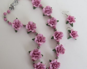 Pink Cold Porcelain Floral Necklace and Earring Set