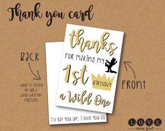 Where the Wild Things Are Inspired Thank You Card Printable- black white gold typography crown max silhouette Wild One I'll eat you up love