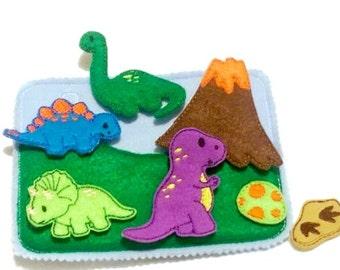 Felt quiet book - Toddler quiet book - Quiet book page - Toddler busy book - Busy book page - Felt busy book - Dinosaur play page  #QB41