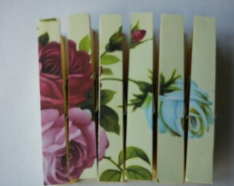 Clothespins Fridge Magnets Magnetic Pegs Yellow shabby rose