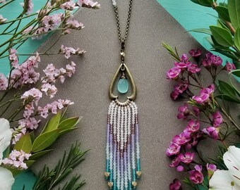 Gemstone Beaded Fringe Necklace >> Rose Quartz, Garnet Chevron Fringe w/ Aqua Chalcedony Gem, Antique Brass >> Boho Style, Boho Luxe